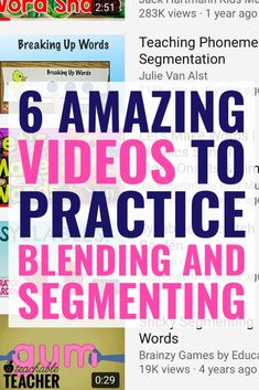 Learning segmenting and blending words is so important to new readers. These engaging videos are a fun activity to practice these important skills for preschool, kindergarten, first grade and even second grade classrooms! Phonics Reading, Teaching Phonics, Phonics Activities, Kindergarten Reading, Reading Activities, Teaching Reading, Learning, Preschool Kindergarten, Teaching Art