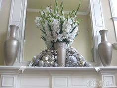 I love how a little Krylon metallic spray paint turned some gaudy dollar store decorations into this!