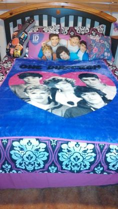 One Direction-make do bed set.... black and white damask bedspread- Burlington....1D blanket---Walmart. ... 1D body pillow---Walmart.... 1D guitar pillow---Burlington.... purple sparkles pillow-Forever 21.... I'm sure most of these things are online as well.