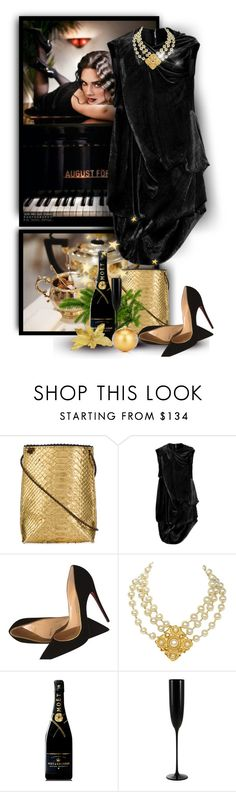 """""""Merry Christmas"""" by christiana40 ❤ liked on Polyvore featuring Jenny Packham, B.May, Rick Owens, Christian Louboutin, Chanel, MoÃ«t & Chandon, Riedel, Barneys New York and polyvoreeditorial"""