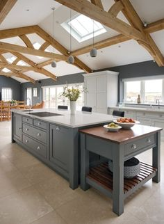 Kitchen Island Ideas with Seating & Storage Kitchen island ideas for inspiration on creating your own dream kitchen. diy painted small kitchen design – with seating and lighting Barn Kitchen, Kitchen Living, New Kitchen, Kitchen Decor, Cheap Kitchen, Miele Kitchen, Kitchen Ideas, Kitchen Seating, Updated Kitchen