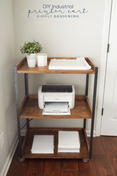 This Industrial style DIY Printer table is really functional and such a great addition to any craft room or office. And it is so easy to build a printer cart yourself too!