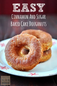 These easy baked cake doughnuts with cinnamon and sugar are amazing and fast ... start to finish in less than 25 minutes | KansasCityMamas.com