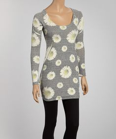 Take a look at the Casa Lee Gray & White Daisy Tunic on #zulily today!