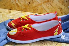 The Flash Shoes | Hand painted superhero shoes by Belkashop on Etsy