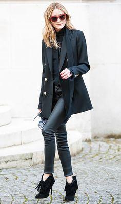Oversized Blazer + Leather Pants  On Olivia Palermo:Moncler Sunglasses; ReissLavinnia Double-Breasted Blazer($520); Saint Laurent Paris Fringed Suede Booties ($995).