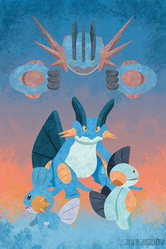An original composition featuring Mudkip, Marshtomp Swampert and Mega Swampert. This is my favorite of the Gen 3 starters, and I think Swampert's mega evolution is awesome! Pokemon W, Pikachu, Pokemon Memes, Pokemon Fan Art, Mega Swampert, Harry Potter Games, Mudkip, Water Type, Kings Game