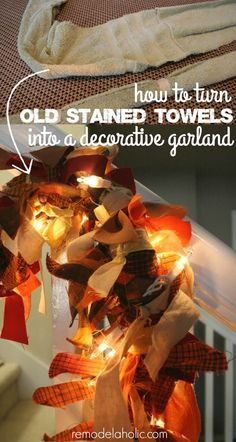 Easy and FREE decorating! Use old towels as the base for this easy garland, made from things you probably have around your house already. @remodelaholic Fall Crafts, Holiday Crafts, Holiday Decor, Holiday Ideas, Old Towels, Store Displays, Holidays And Events, Fall Halloween, Garland