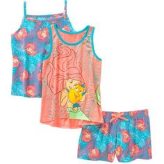 Disney Princess Ariel Girls' Tank, Cami, and Shorts 3 Piece Set