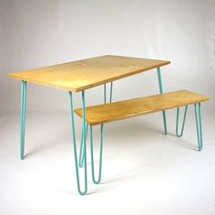birch ply dining table and benches with hairpin legs by cord industries | notonthehighstreet.com