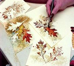 watercolor greeting cards  made by using real leaves to stamp and stencil by susie short. nice.