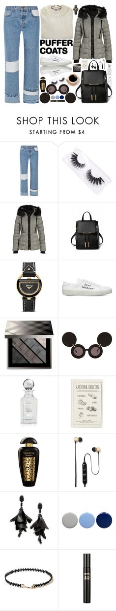 """#28 Stay Warm: Puffer Coats"" by marika-jane ❤ liked on Polyvore featuring Current/Elliott, Featherella, Muji, GUESS, Salvatore Ferragamo, Yves Saint Laurent, Burberry, Jeremy Scott, Kilian and Kocostar"