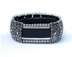 FitBit Alta Band and Alta HR Band Cover Bracelet: Antique Silver Sandringham Scroll with Window