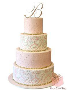 Pink ombre damask wedding cake by Pink Cake Box in Denville, NJ. Blush Wedding Cakes, Damask Wedding, Elegant Wedding Cakes, Beautiful Wedding Cakes, Wedding Cake Designs, Lace Wedding, Dream Wedding, Damask Cake, Pink Damask