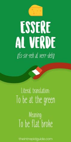 Italian Expressions Essere al verde