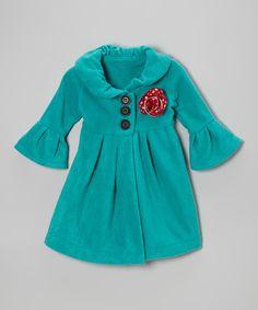 Teal Flower Fleece Swing Coat - Toddler & Girls | Daily deals for moms, babies and kids