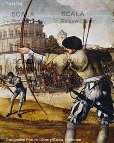 "1536-8 Portugal: Archer & crossbowman, detail from the ""Martyrdom of Saint Sebastian"" by Gregorio Lopes (ca 1490-1550) Location: Museu Nacional de Arte Antiga"