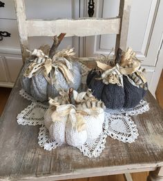 Sweater Pumpkins Set of 3 Lt Grey Med Grey White fabric pumpkins shabby cottage chic farmhouse style fall decor by TatteredTreasures1 on Etsy https://www.etsy.com/listing/466027628/sweater-pumpkins-set-of-3-lt-grey-med