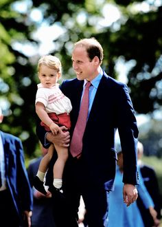 ready4royalty:  Prince George with his father the Duke of Cambridge, July 5, 2015