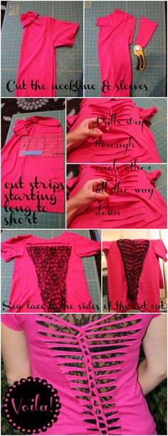 DIY TUTORIAL: t-shirt refashion love the lace under the strips - this would be fun to do with a larger shirt to use as a swim suit cover-up
