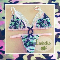 ♡Isabelle ♡ #triangulitos #ahorarosaura #lenceriadediseño #tanga #camuflado #rosa #encaje Www.ahorarosaura.com.ar