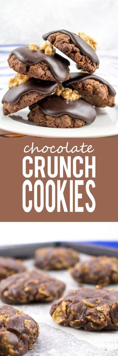 Chocolate Crunch Cookies - Rich, ultra chocolaty cookies with chocolate icing and a lone walnut center! Absolutely delicious!!