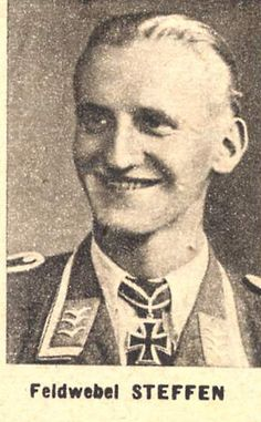 ✠ Karl Steffen (10 March 1918 - 8 August 1943) Reported missing after a forced landing near Bjelgorod. RK 01.07.1942 Feldwebel Flugzeugführer i. d. 8./JG 52