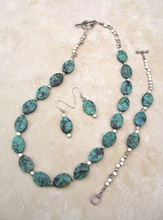 Handmade Turquoise Jewelry, Turquoise and Silver by GodivasJewelryBox, $85.00...