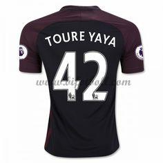 Billiga Fotbollströjor Manchester City 2016-17 Toure Yaya 42 Kortärmad Borta Matchtröja