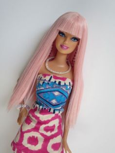 OOAK-Barbie-doll-re-root-reroot-pink-hair-fashionista-face-accessories-bangs