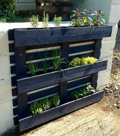 If you are looking for Diy Projects Pallet Garden Design Ideas, You come to the right place. Here are the Diy Projects Pallet Garden Design Ideas. Herb Garden Pallet, Herb Garden Design, Pallet Garden Walls, Vertical Pallet Garden, Palet Garden, Palette Herb Garden, Pallet Gardening, Vertical Planter, Wood Pallet Planters