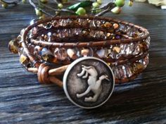 Leather Wrap Bracelet - Western Jewelry - Brown Faceted Fire Polished Beads | Patron263156 - Jewelry on ArtFire