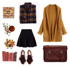 """Fall in for you"" by thais-rossini on Polyvore featuring moda, Miss Selfridge, Improvements, The Cambridge Satchel Company, skirt, casualoutfit, autumn e books"
