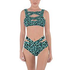 de1a5821d6dc1 Queen of Cases Bright Leopard Print Teal XS Criss Cross Bandage Bikini Set         AMAZON BEST BUY     Lingerie