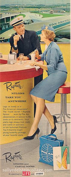 "Ad-Pan Am Stewardess 1954 Rapture Nylons Ad, ""Legs as lovely as a Pan American stewardess! Retro Advertising, Retro Ads, Vintage Advertisements, Vintage Ads, Vintage Airline, Vintage Sweets, Pan Am, Airline Travel, Air Travel"
