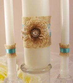 Rustic Burlap and Satin Wedding Ceremony Unity Candle