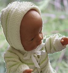 "Doll knitting Model 0003D CHRISTINA - Cardigan, Bonnet, Romper, Socks and Blanket (This patterns fits 17"" - 18"" dolls like American Girl doll, Baby born and Alexander doll.) Design: Målfrid Gausel"