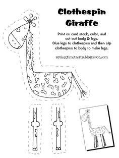 Spring Time Treats: Clothespin Giraffe (free printable)
