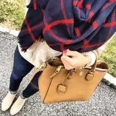 IG @mrscasual <click through to shop this look> cableknit sweater. Plaid blanket scarf. Ankle boots. Tory burch Robinson square tote.