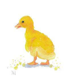 Original Duckling Watercolor Duck Animal by WaterInMyPaint. $30.00, via Etsy.