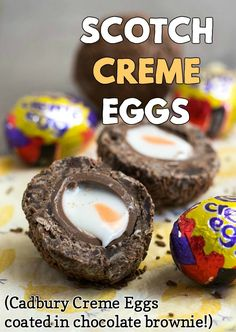 Scotch Creme Eggs - the most delicious thing I've ever made! Cadbury Creme Eggs, covered with chocolate brownie and rolled in sprinkles. Chocolate Brownies, Chocolate Recipes, Cream Egg Brownies, Orange Brownies, Chocolate Sprinkles, Easter Chocolate, Cadbury Creme Egg Recipes, Cadbury Eggs, Easy Desserts