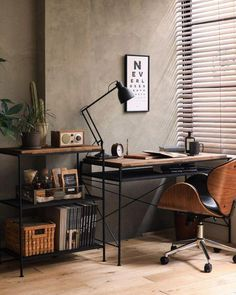 Best Tips for Creating A Minimalist Home Office - Ianiko Industrial Home Offices, Industrial House, Industrial Bedroom, Industrial Office Desk, Industrial Scandinavian, Rustic Home Offices, Warm Industrial, Modern Offices, Home Office Setup