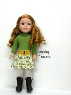 14 inch doll clothes AG doll clothes fern green top and mustard yellow yoke front skirt made to fit like wellie wishers doll clothes by Unendingtreasures on Etsy