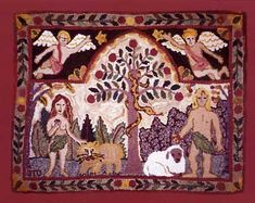 Rug hooking - I have ALWAYS wanted to explore this art. J. Conner Hooked Rugs - Adam and Eve rug.