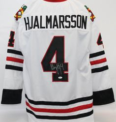 """Niklas Hjalmarsson Autographed Chicago Blackhawks Jersey JSA COA.. Use Promo Code """"PBS15"""" and get 15% off purchases #UltimateAutographs"""