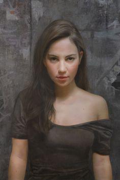 """Mariana"" - David Jon Kassan, realist, oil on panel detail {contemporary artist figurative realism woman painting}"