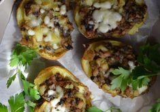 Zapiekane młode ziemniaki z pieczarkami - DoradcaSmaku.pl Gnocchi, Cheesesteak, Mozzarella, Baked Potato, Potatoes, Baking, Ethnic Recipes, Patisserie, Potato