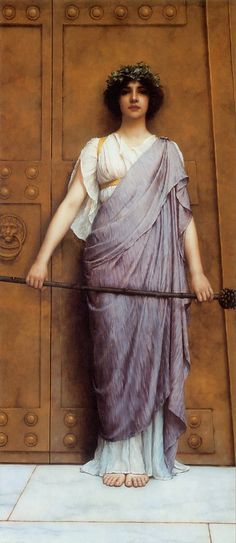 At the Gate of the Temple by John William Godward