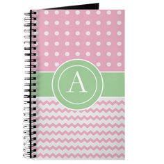 Pink Green Polka Dot Chevron Monogram Journal on CafePress.com