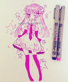 1000th post~ thank you all so much ( ˘ ³˘)♥. After several months I finally have a name for this OC - her name is Mii but right now I am not done her clothes design yet (T▽T) She likes shooting stars (meteors) and anything similar to large asteroids that have the potential to easily destroy a large portion of Earth upon contact. . . #bicmarkers #copicmarkers #micronpen #moleskinesketchbook